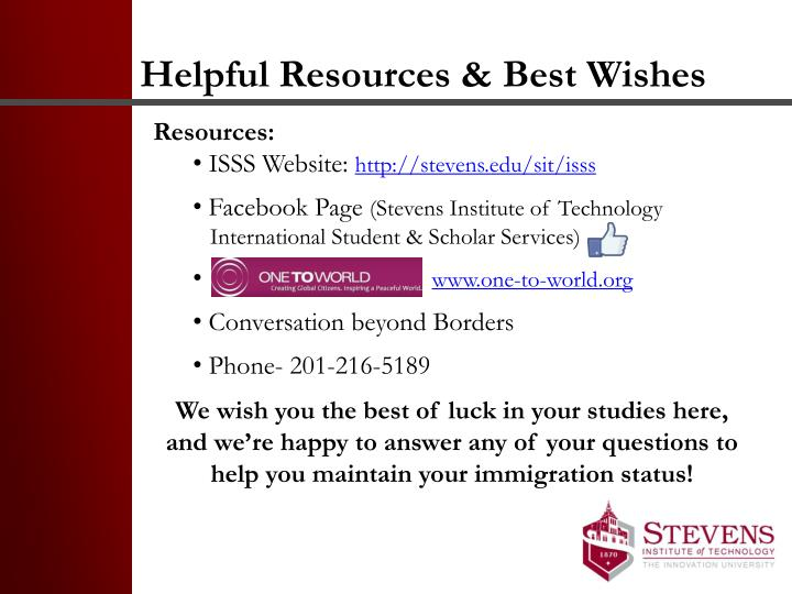 Helpful Resources & Best Wishes