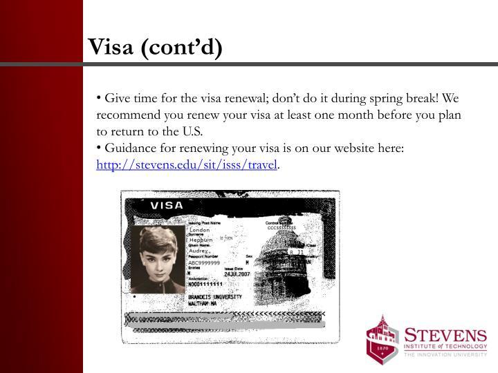 Visa (cont'd)