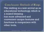 conclusion outlook of blogs