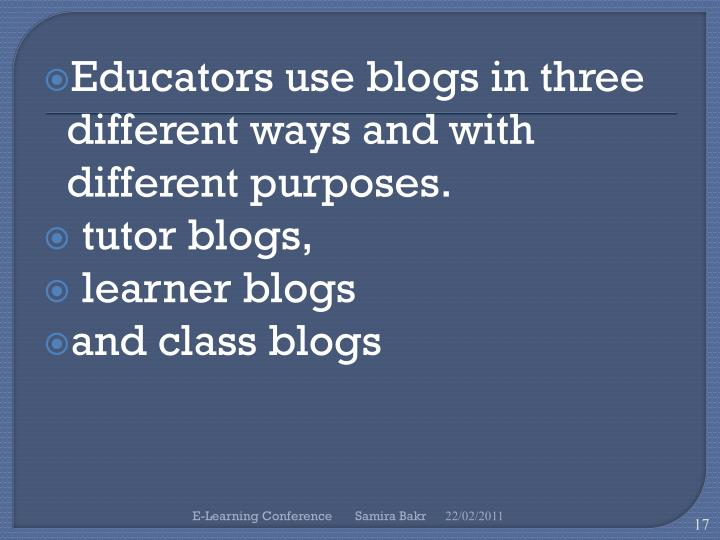 Educators use blogs in three different ways and with different purposes.