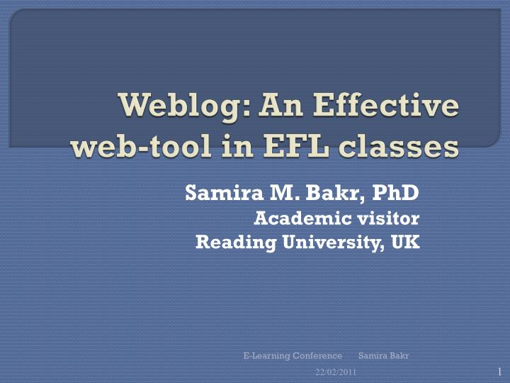 Weblog an effective web tool in efl classes