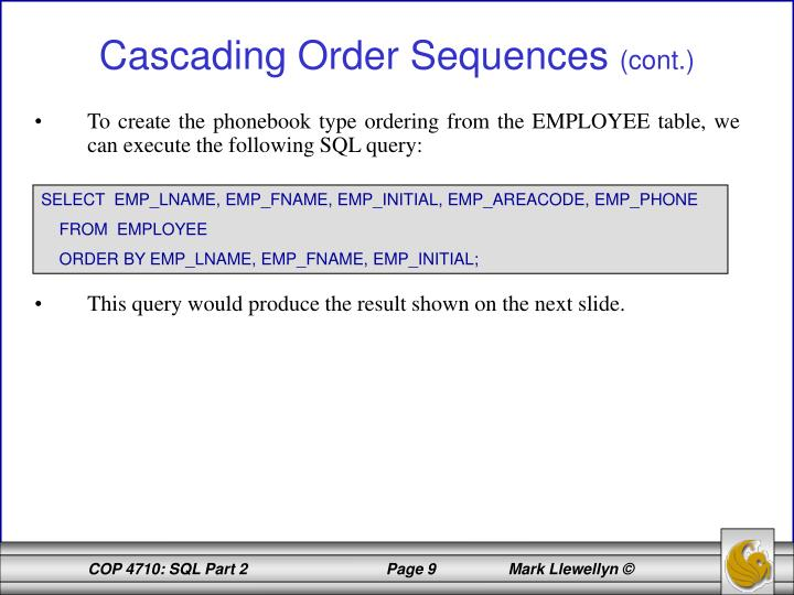 To create the phonebook type ordering from the EMPLOYEE table, we can execute the following SQL query: