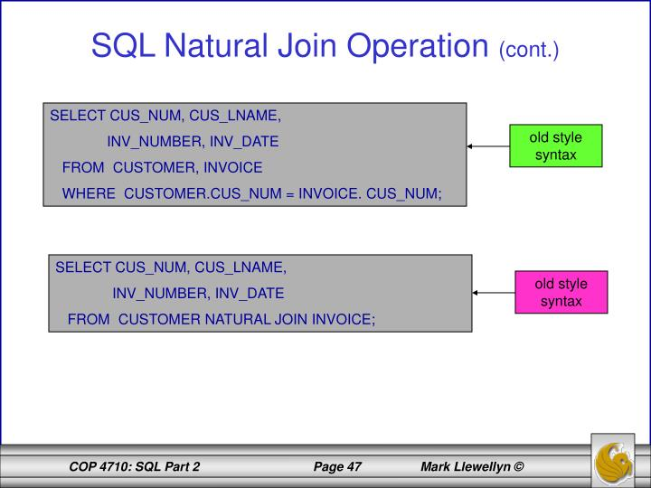 SQL Natural Join Operation