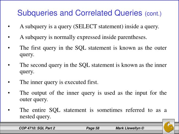 A subquery is a query (SELECT statement) inside a query.