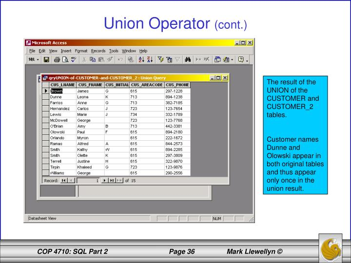 Union Operator