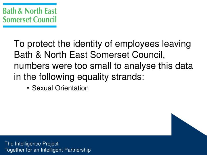 To protect the identity of employees leaving Bath & North East Somerset Council, numbers were too small to analyse this data in the following equality strands: