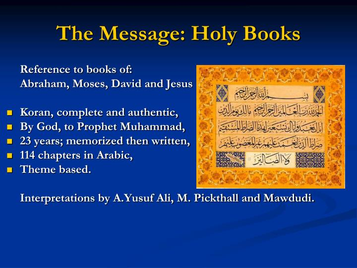 The Message: Holy Books