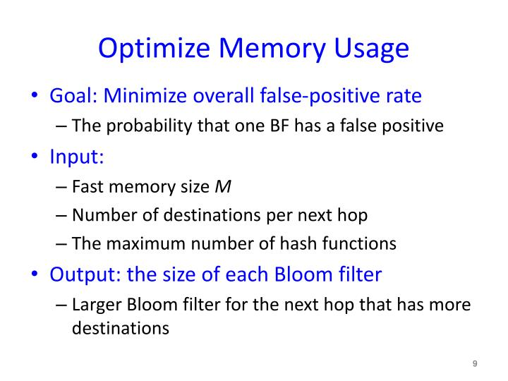 Optimize Memory Usage
