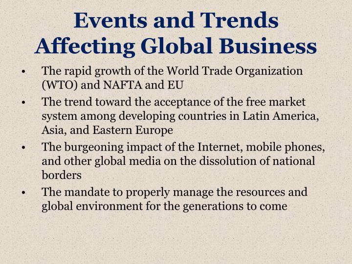 Events and trends affecting global business