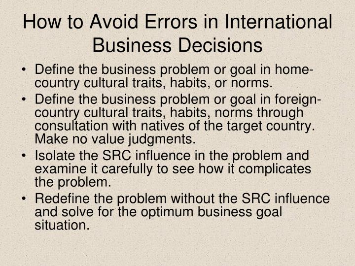 How to Avoid Errors in International Business Decisions