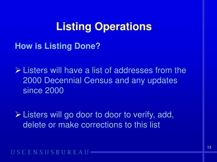 Listing Operations