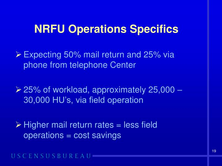 NRFU Operations Specifics