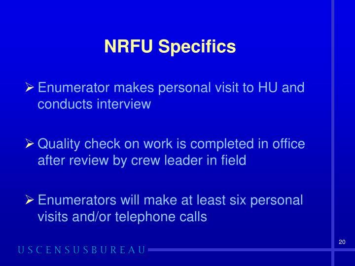 NRFU Specifics