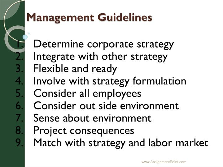 Management Guidelines