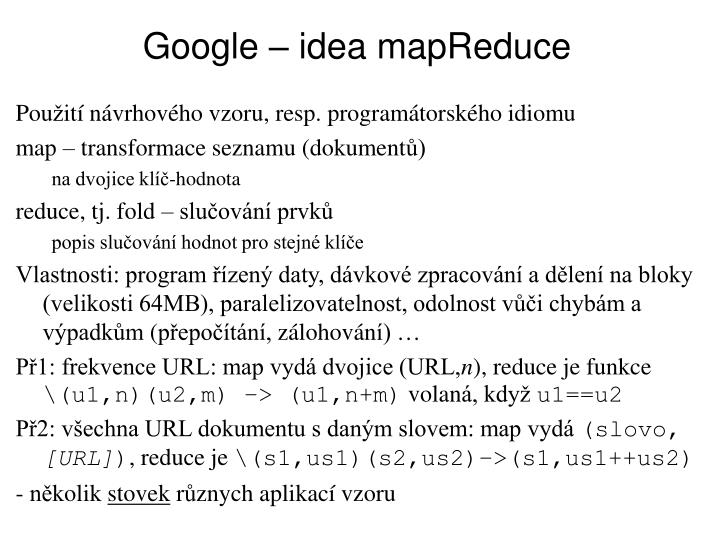 Google – idea mapReduce