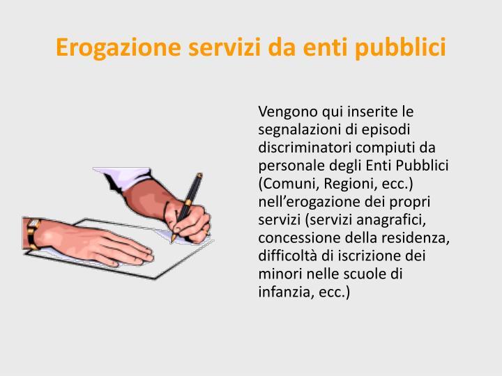 Erogazione servizi da enti pubblici