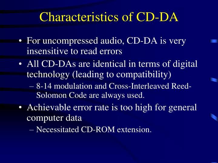 Characteristics of CD-DA