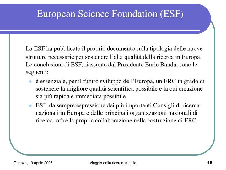 European Science Foundation (ESF