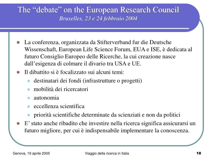 "The ""debate"" on the European Research Council"