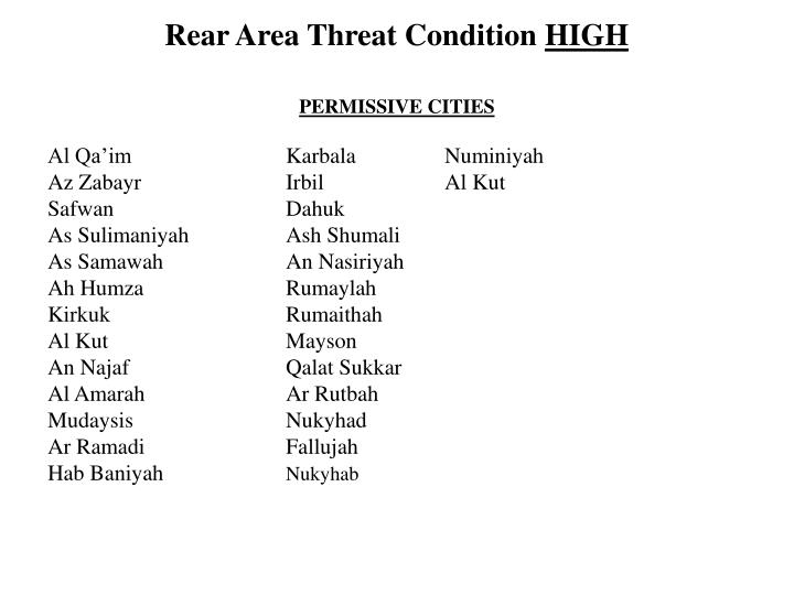 Rear Area Threat Condition