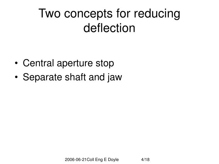 Two concepts for reducing deflection