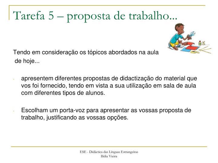 Tarefa 5 – proposta de trabalho...