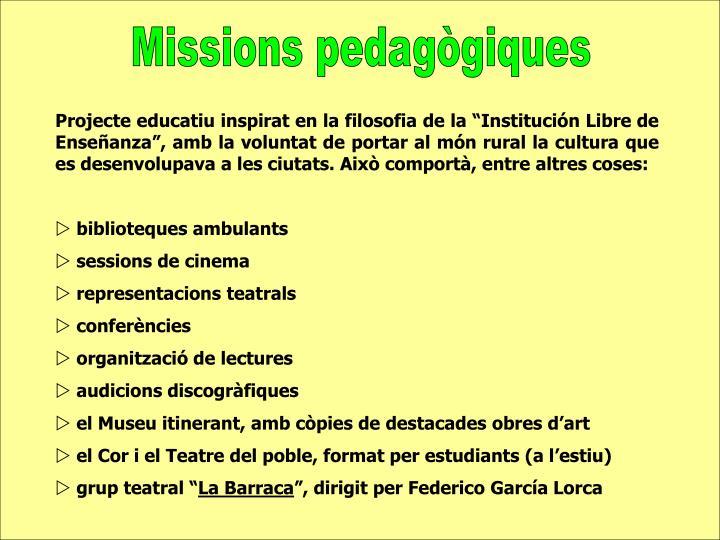 Missions pedagògiques