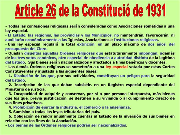 Article 26 de la Constitució de 1931