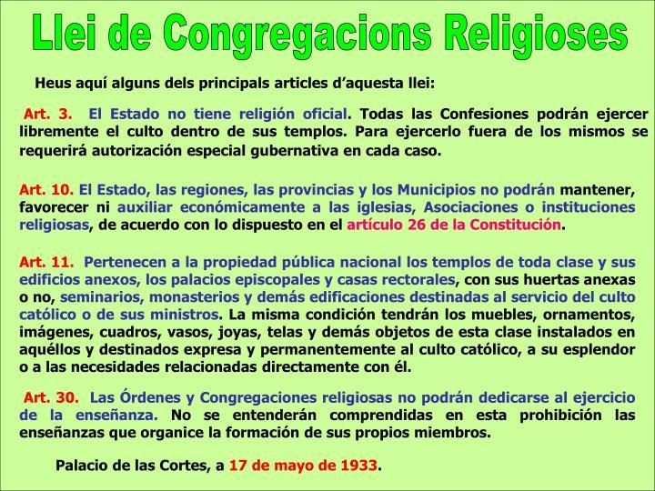 Llei de Congregacions Religioses