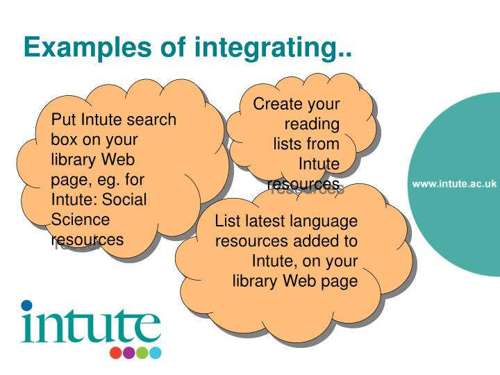Examples of integrating..