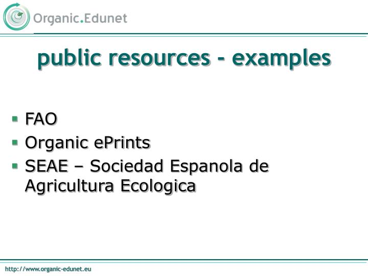 public resources - examples