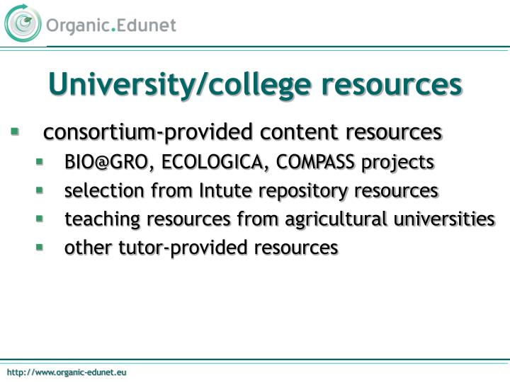 University/college resources