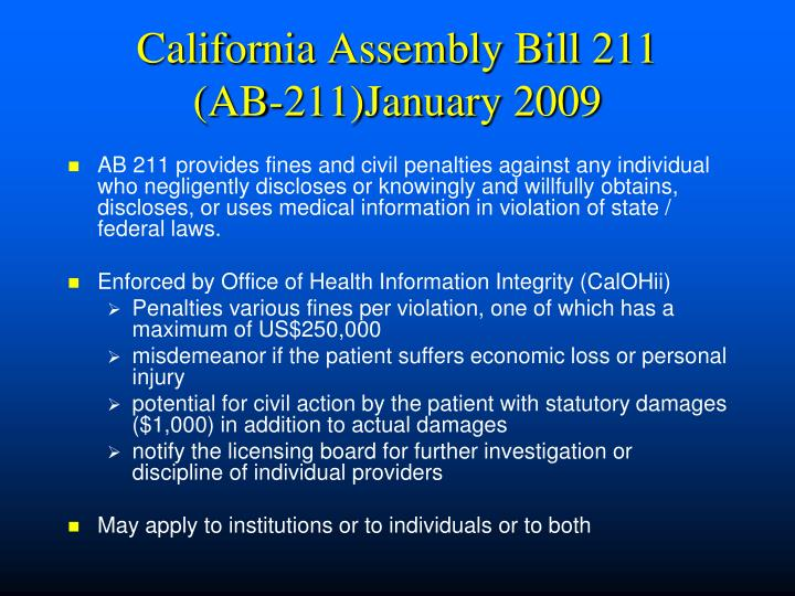 California Assembly Bill 211