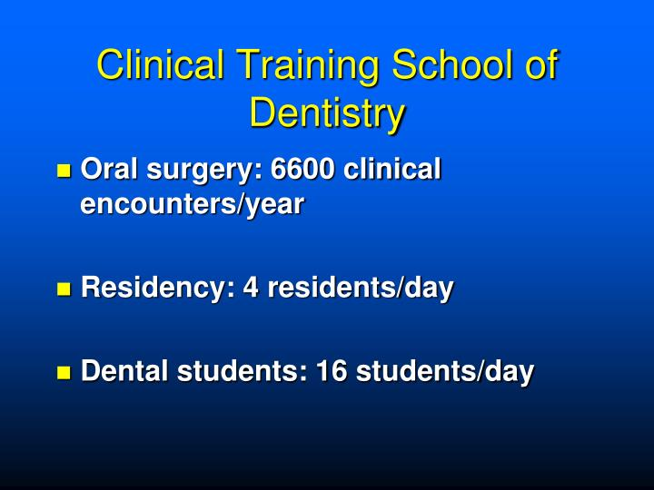 Clinical Training School of Dentistry