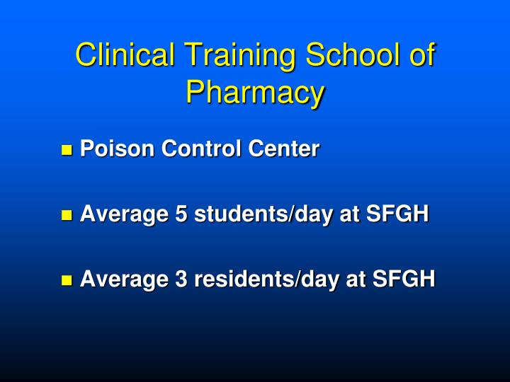 Clinical Training School of Pharmacy