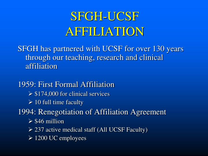 SFGH-UCSF AFFILIATION