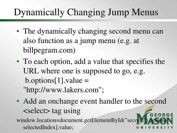 Dynamically Changing Jump Menus