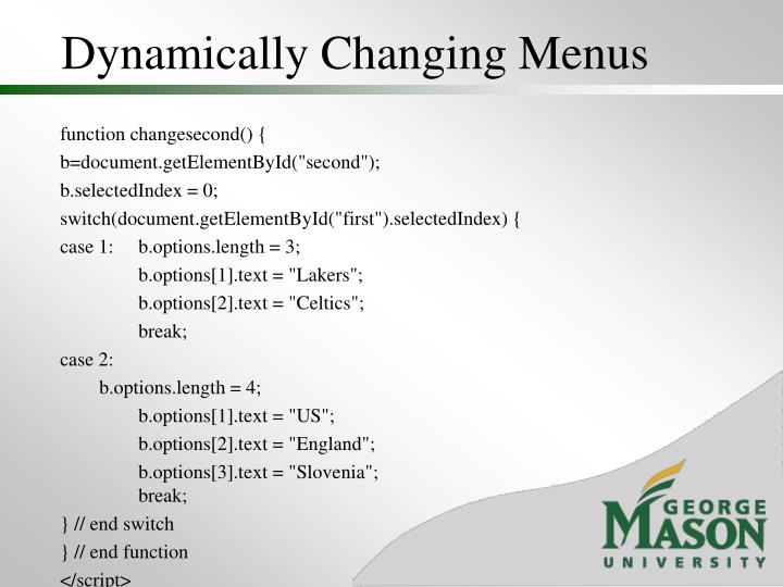 Dynamically Changing Menus