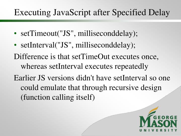 Executing JavaScript after Specified Delay