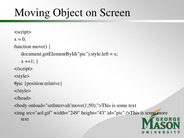 Moving Object on Screen