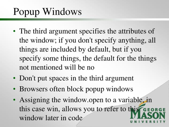 Popup Windows