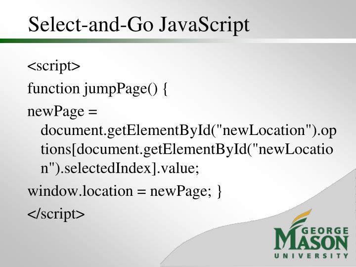 Select-and-Go JavaScript