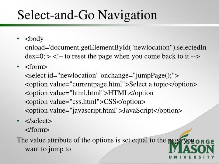 Select-and-Go Navigation