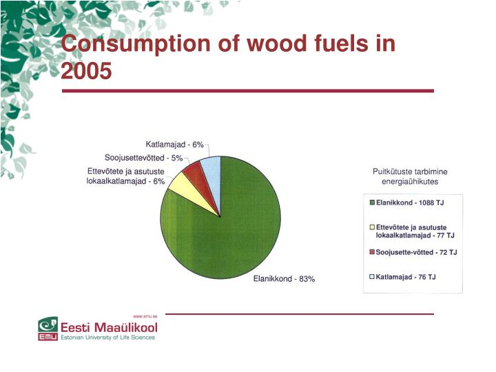 Consumption of wood fuels in 2005