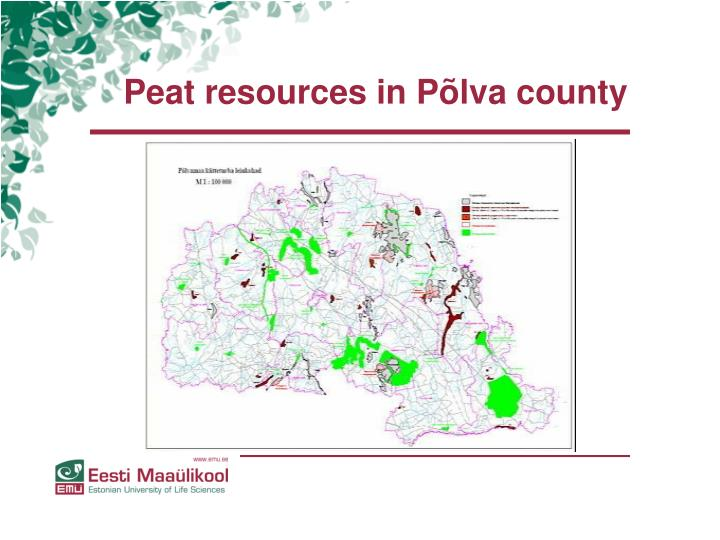 Peat resources in Põlva county