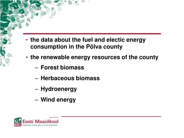 the data about the fuel and electic energy consumption in the Põlva county
