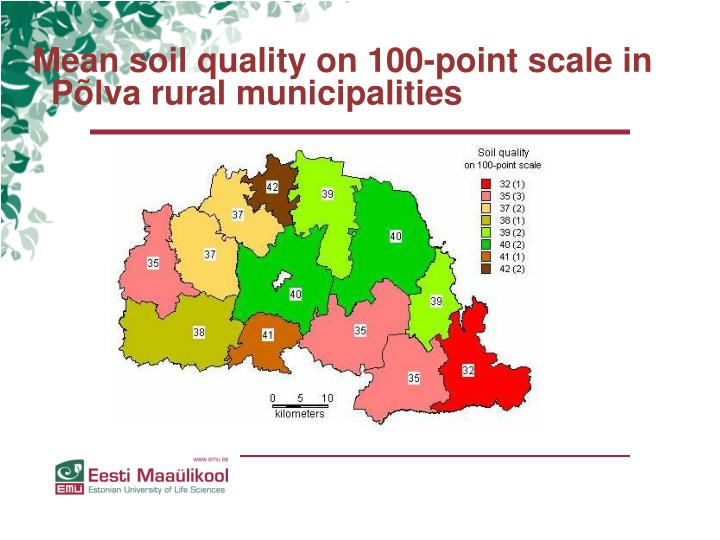 Mean soil quality on 100-point scale in Põlva rural municipalities