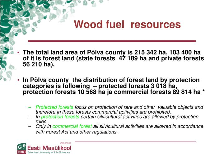 Wood fuel  resources