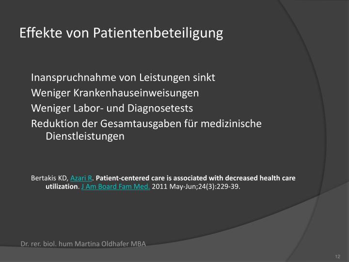 Effekte von Patientenbeteiligung