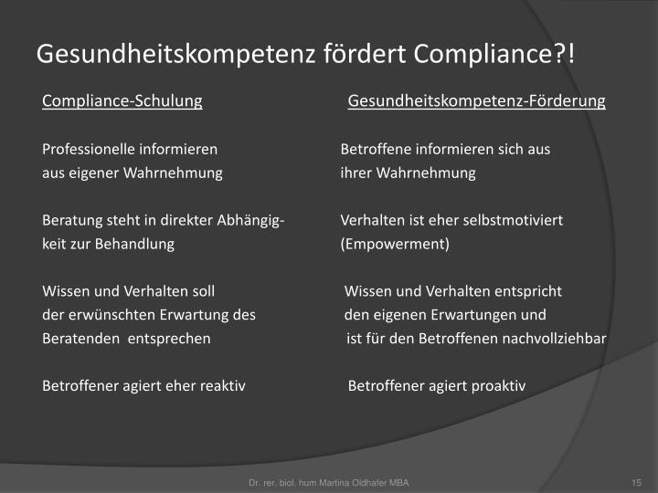 Gesundheitskompetenz fördert Compliance?!